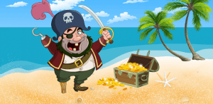 Pirate and gold coin
