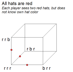 hat puzzle eight outcomes visual cube interpretation example
